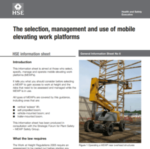 image of new guidance sheet front page of mobile elevated working platforms